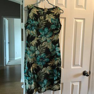 Maggy London Dress Blue Brown Floral sheat…